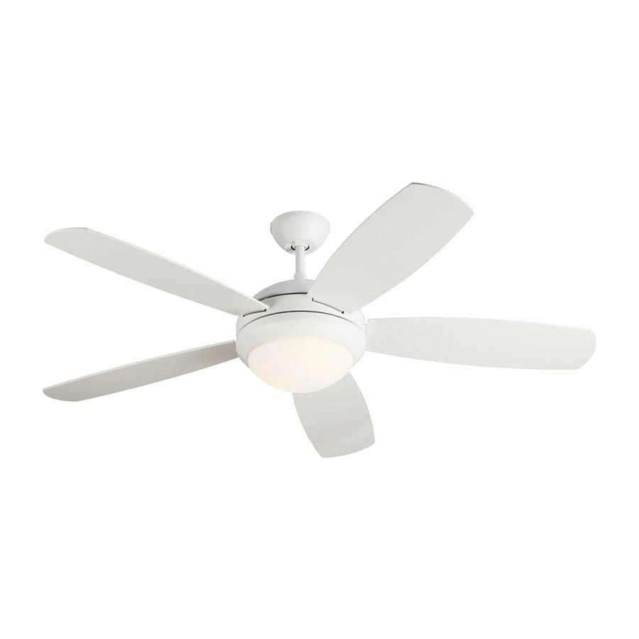 Monte Carlo Fan Company Discus ES 52-in Rubberized white Indoor Downrod Mount Ceiling Fan with Light Kit ENERGY STAR