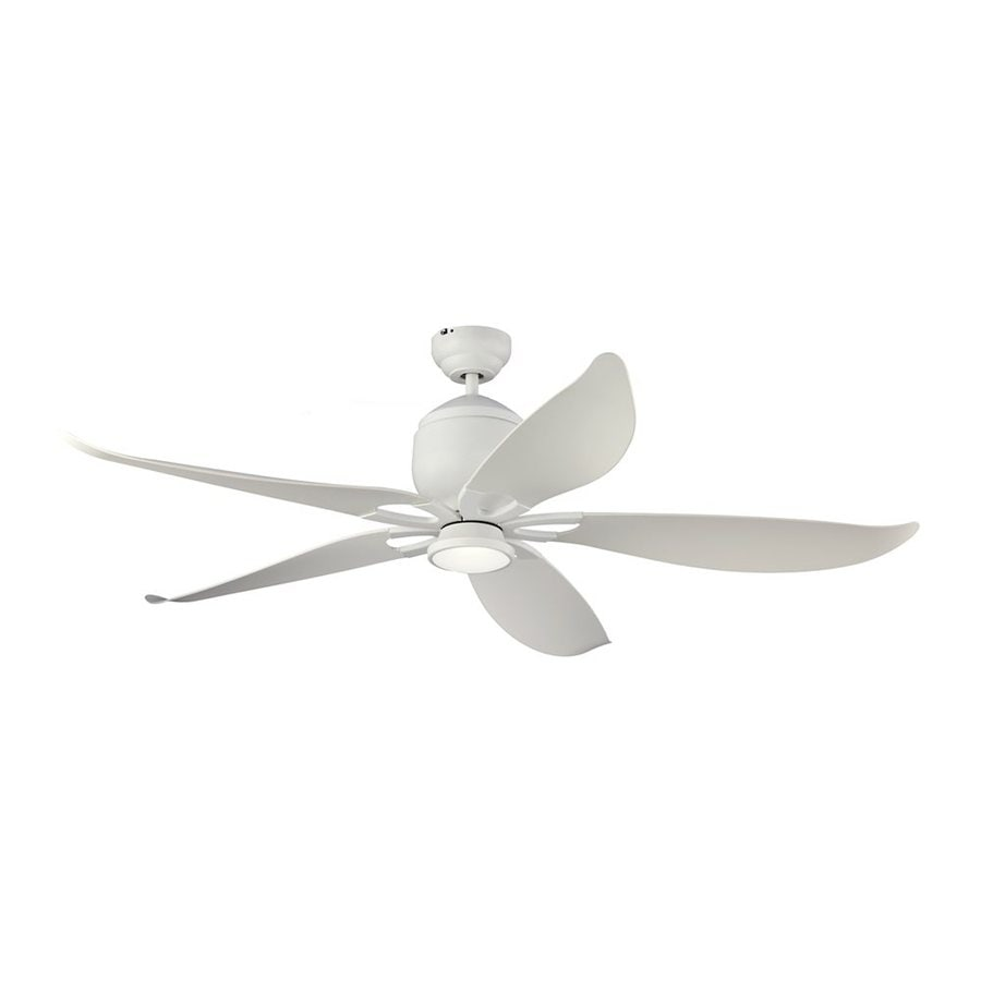 Monte Carlo Fan Company Lily 56-in Rubberized White Downrod Mount Indoor/Outdoor Ceiling Fan with LED Light Kit and Remote (5-Blade)