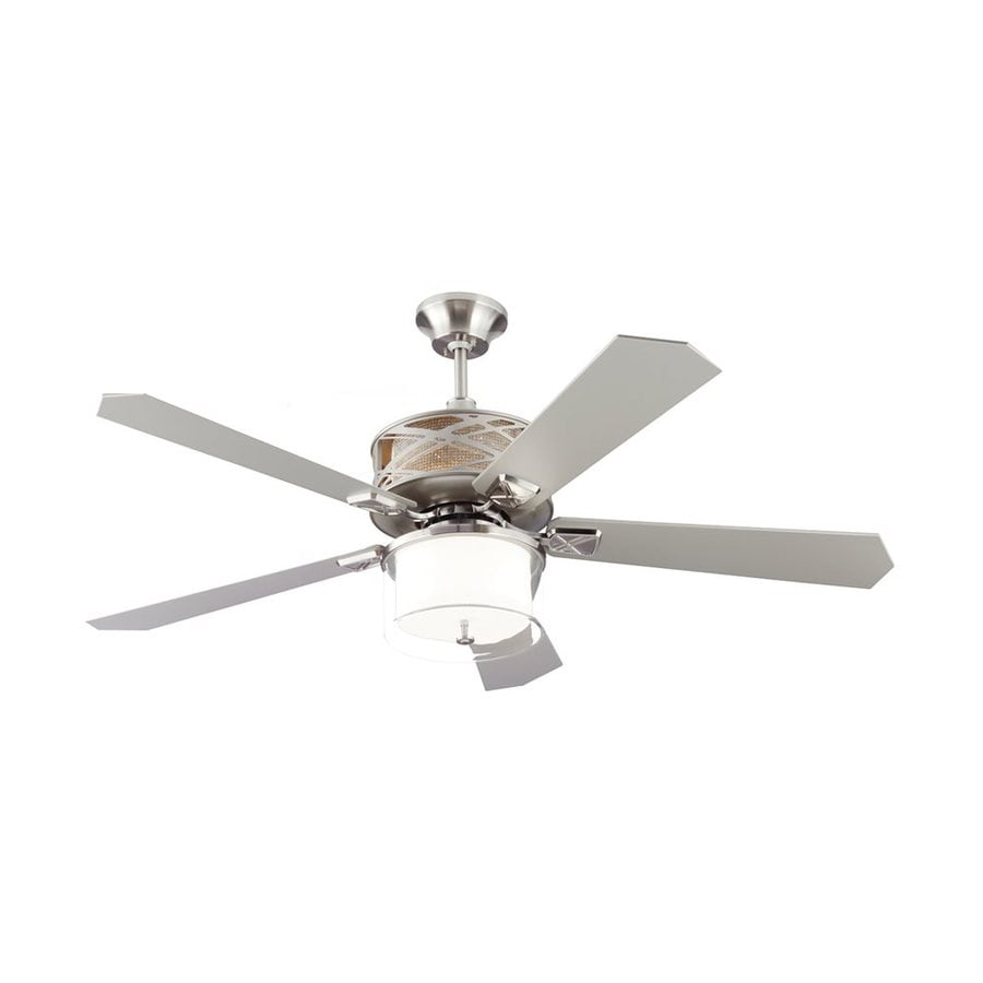 Monte Carlo Fan Company Piper 54-in Brushed Steel Downrod Mount Indoor Ceiling Fan Adaptable Remote (5-Blade)