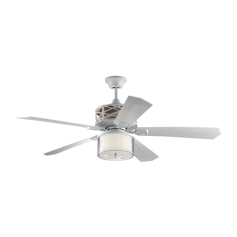 Monte Carlo Fan Company Piper 54-in Rubberized White Downrod Mount Indoor Ceiling Fan with LED Light Kit and Remote (5-Blade)