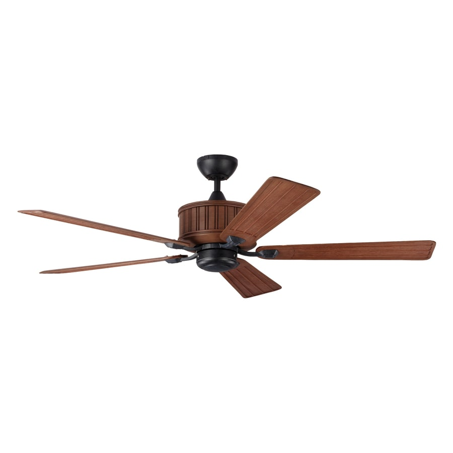 Monte Carlo Fan Company Tillbury 54-in Carved Weathered Oak Downrod Mount Indoor/Outdoor Ceiling Fan Adaptable Remote (5-Blade)