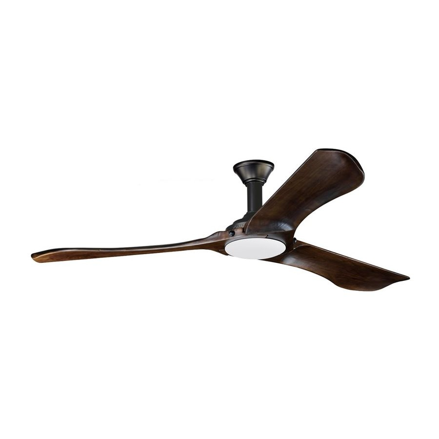 Monte Carlo Fan Company Minimalist Max 72-in Walnut Downrod Mount Indoor/Outdoor Ceiling Fan with LED Light Kit and Remote (3-Blade) ENERGY STAR