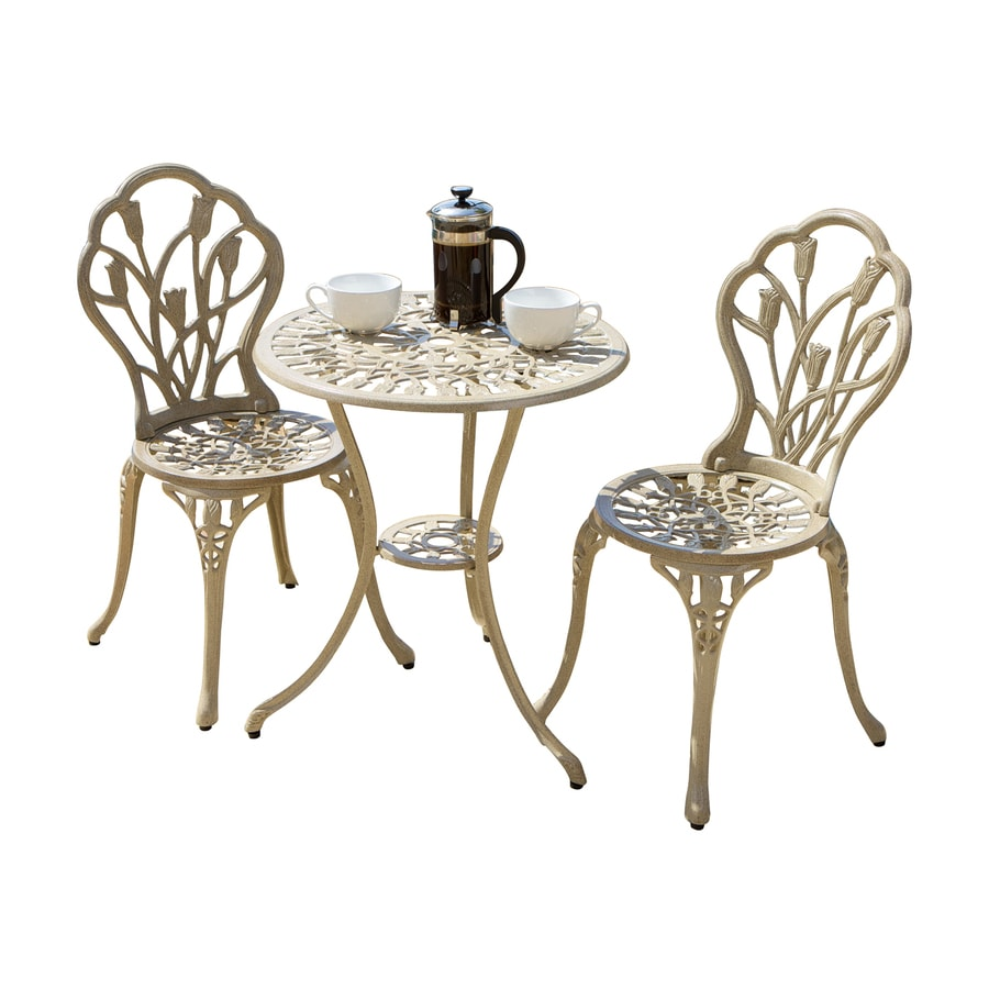 Best Selling Home Decor Nassau 3-Piece Cream Aluminum Bistro Patio Dining Set
