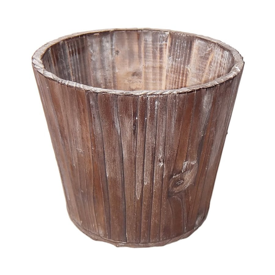 Cheung's 5.75-in Rustic Wood Barrel Planter