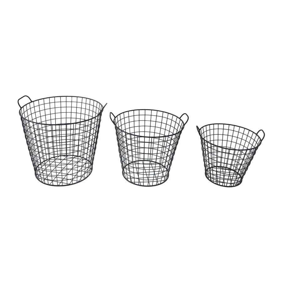 Cheung's Set of 3 Black Metal Wastebaskets