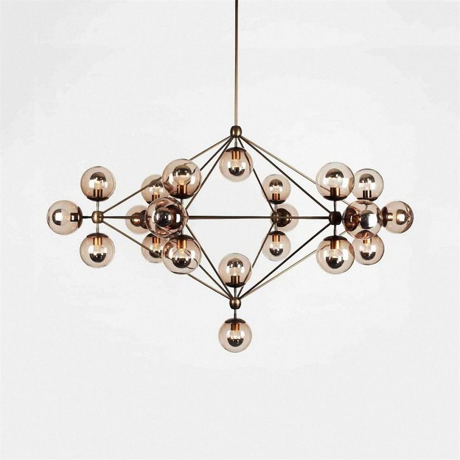 Bethel International 51-in Black Industrial Multi-Light Tinted Glass Geometric Pendant