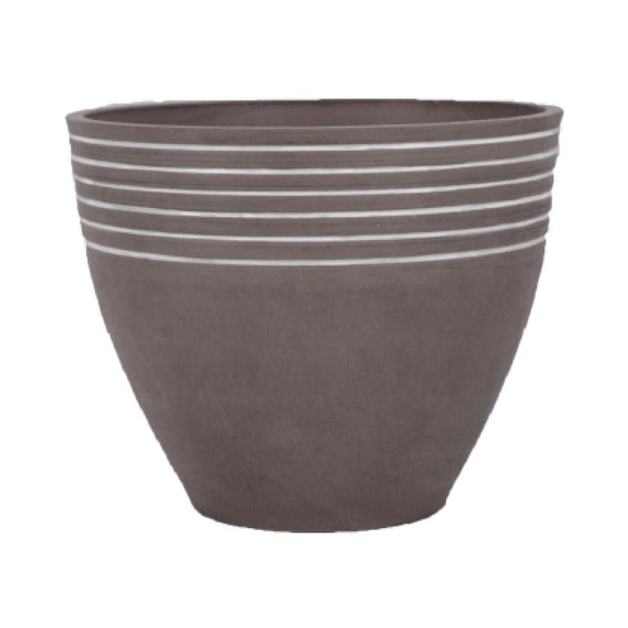 Arcadia Garden 16-in x 13-in Dark Charcoal Mixed/Composite Round Planter