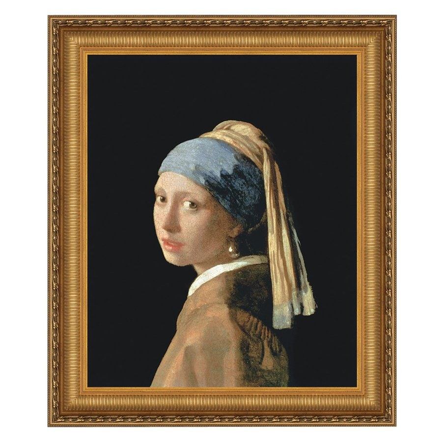 Design Toscano 26.5-in W x 31-in H Framed Canvas The Girl with A Pearl Earring Original Painting Wall Art