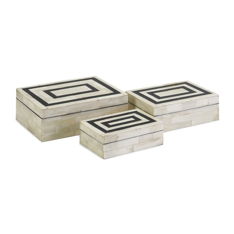 Imax Worldwide Set of 3 Bella Boxes with Bone Inlay