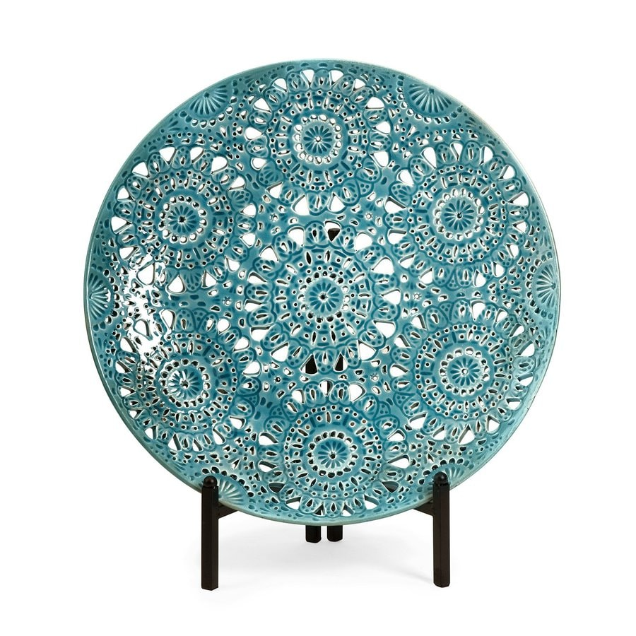 Imax Worldwide Ceramic Plate with Pierced Design and Iron Stand