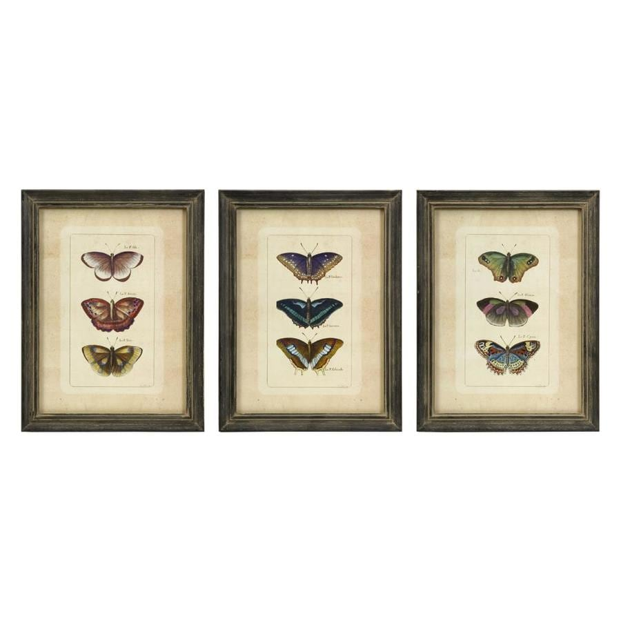 Imax Worldwide 3-Piece 12-in W x 16-in H Framed Butterfly Print Art Set
