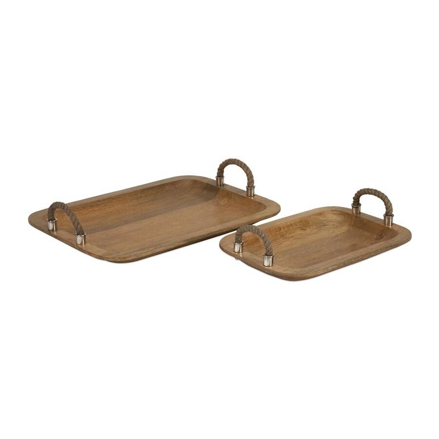 Imax Worldwide Set of 2 Tabari Roasted Honey Wood Rectangular Serving Trays