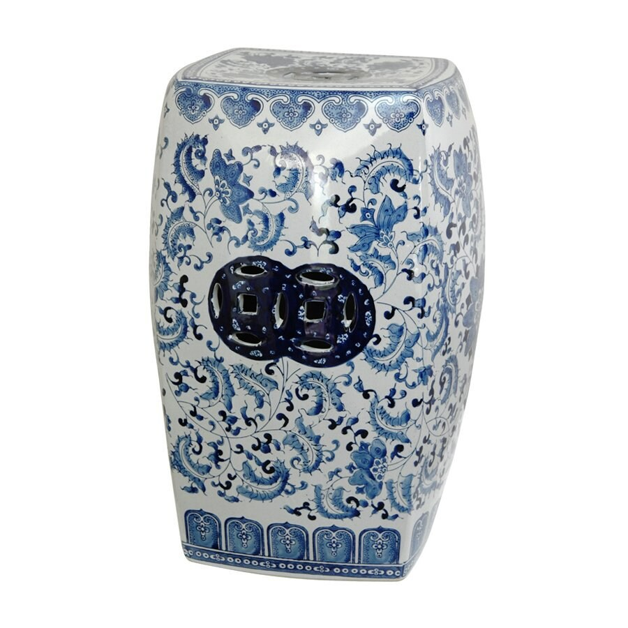 Oriental Furniture 18-in Blue Ceramic Garden Stool