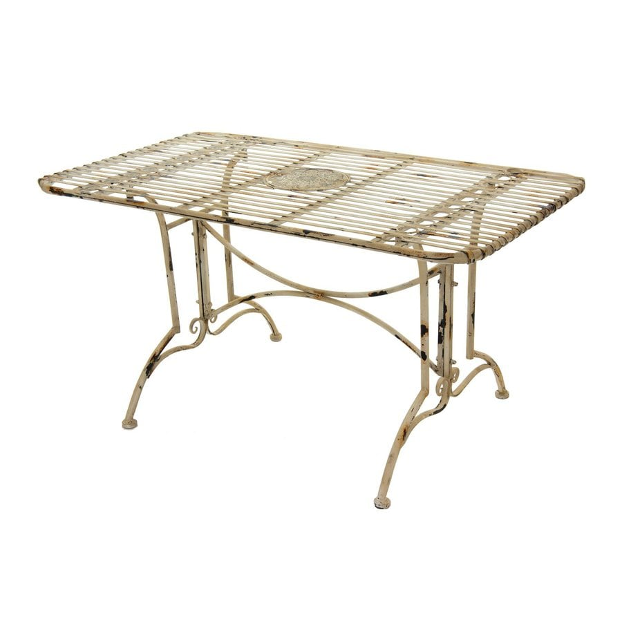 Oriental Furniture 23.25-in W x 39.5-in L Rectangular Wrought Iron Dining Table