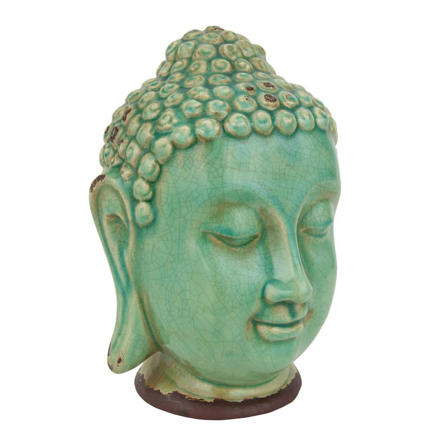 Oriental Furniture Glazed Ceramic Thai Buddha Head Statue