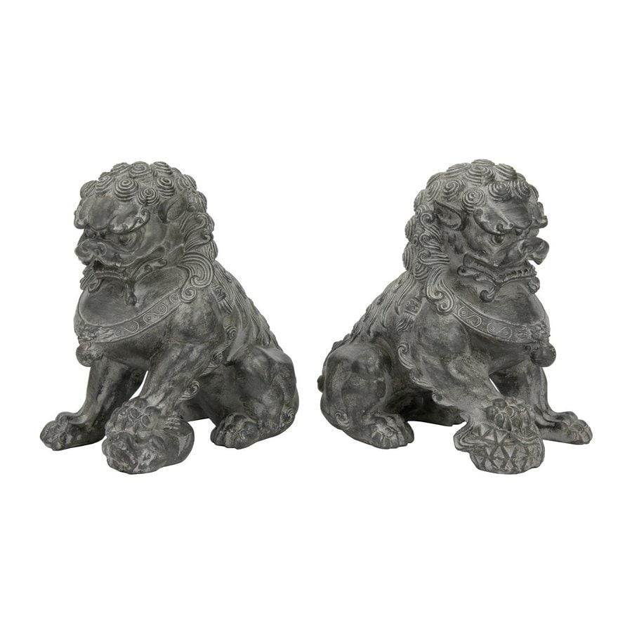 Oriental Furniture Set of 2 Sitting Foo Dog Resin Statues