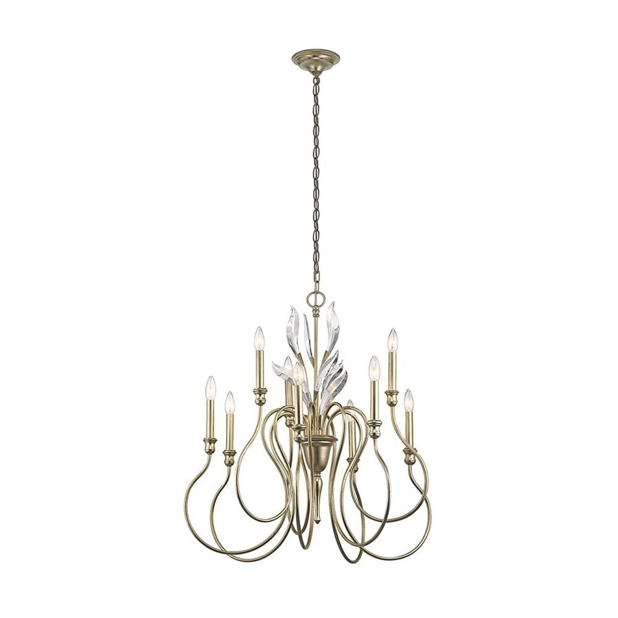 Kichler Grace 30-in 9-Light Sterling Gold Vintage Hardwired Candle Chandelier