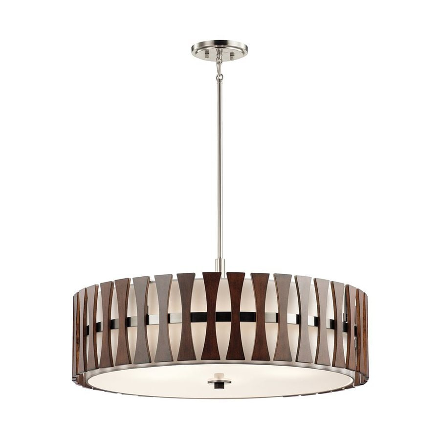 Kichler Lighting Cirus 30-in Auburn Stained Hardwired Single Etched Glass Drum Pendant