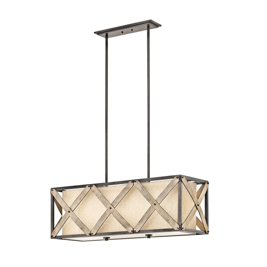 Kichler Cahoon 13.5-in W 3-Light Anvil Iron Kitchen Island Light with Textured Shade