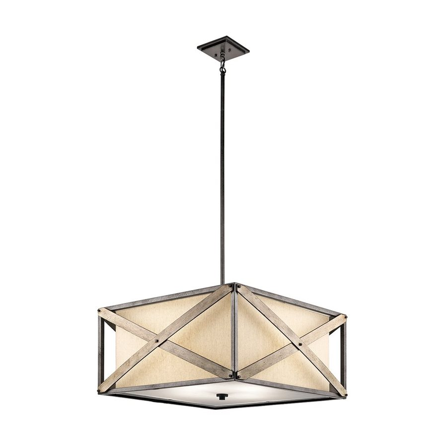 Kichler Lighting Cahoon 25.75-in Anvil Iron Rustic Hardwired Single Etched Glass Square Pendant