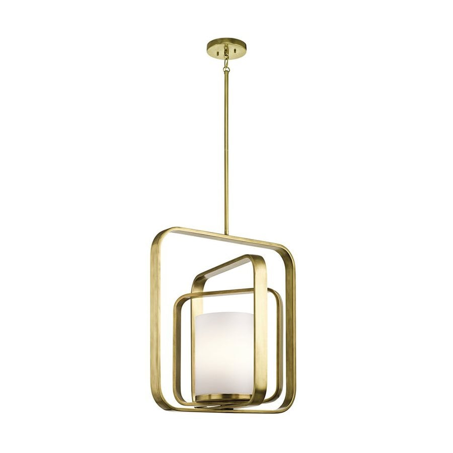 Kichler City Loft 20.5-in Natural Brass Hardwired Single Etched Glass Geometric Pendant