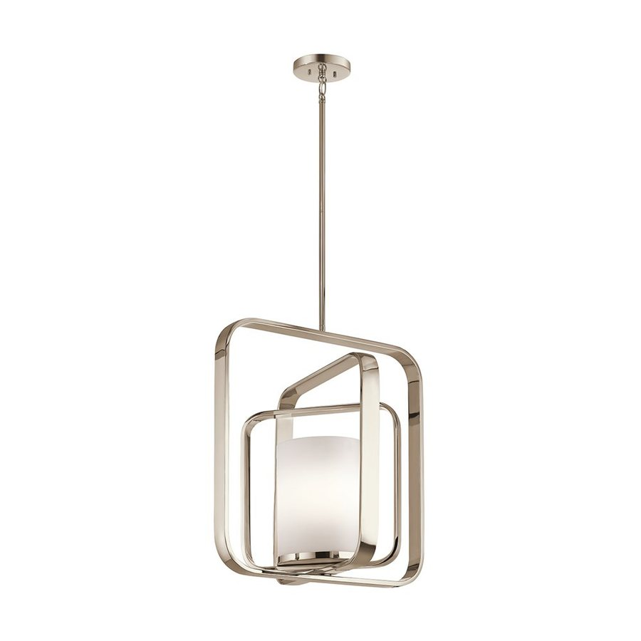 Kichler City Loft 20.5-in Polished Nickel Hardwired Single Etched Glass Geometric Pendant