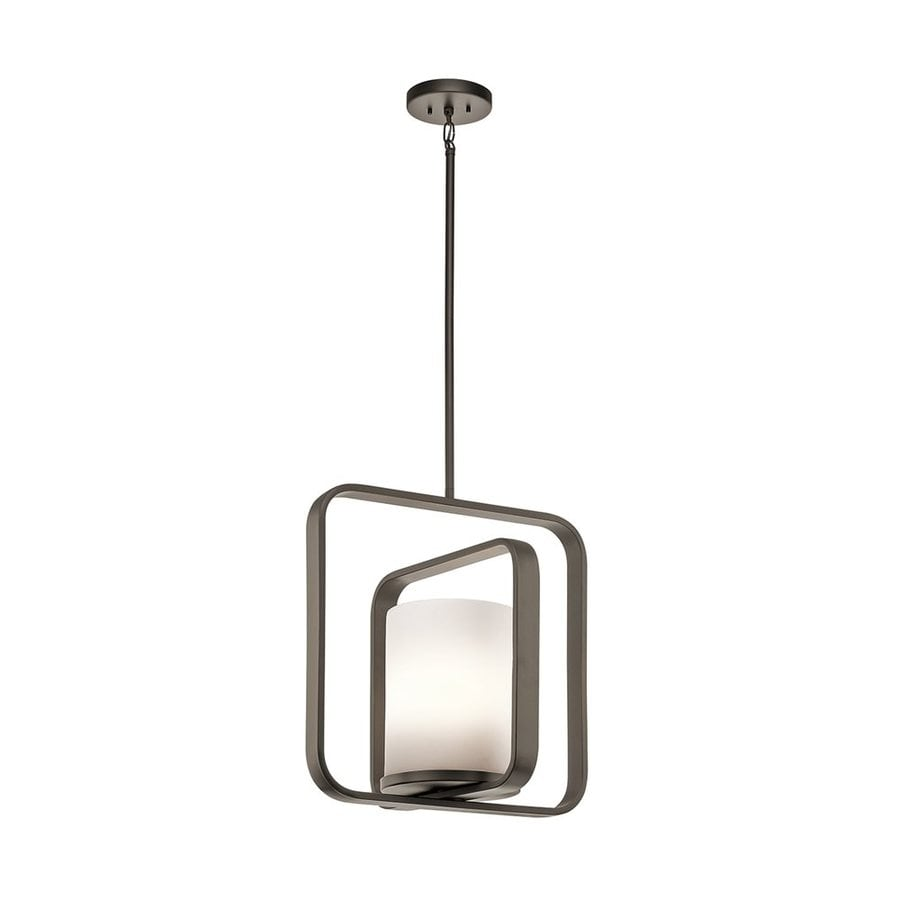 Kichler City Loft 16.25-in Olde Bronze Hardwired Single Etched Glass Geometric Pendant