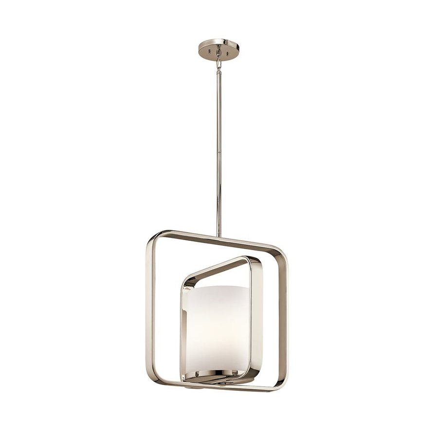 Kichler Lighting City Loft 16.25-in Polished Nickel Hardwired Single Etched Glass Geometric Pendant