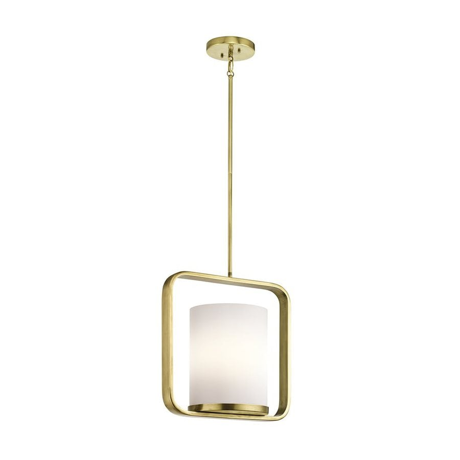 Kichler City Loft 16.25-in Natural Brass Hardwired Single Etched Glass Square Pendant