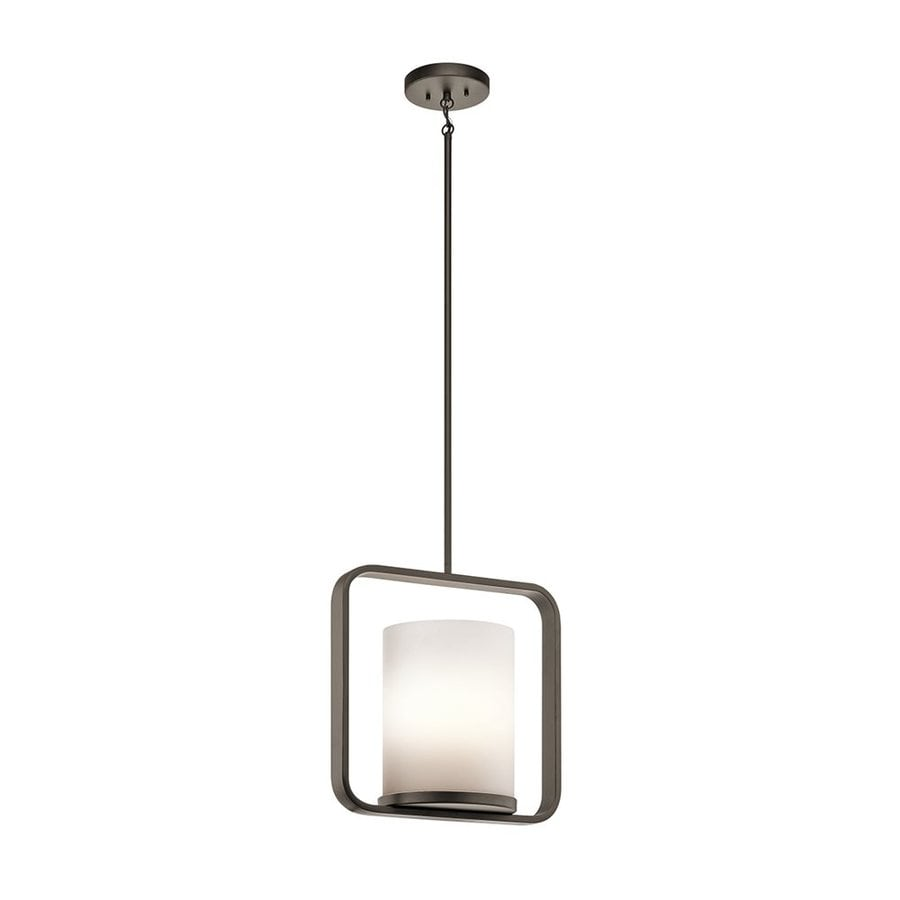 Kichler City Loft 16.25-in Olde Bronze Hardwired Single Etched Glass Square Pendant