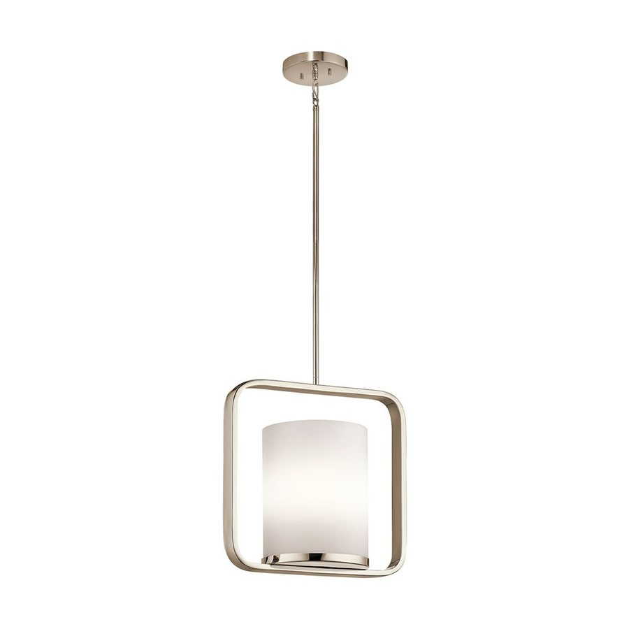 Kichler City Loft 16.25-in Polished Nickel Hardwired Single Etched Glass Square Pendant