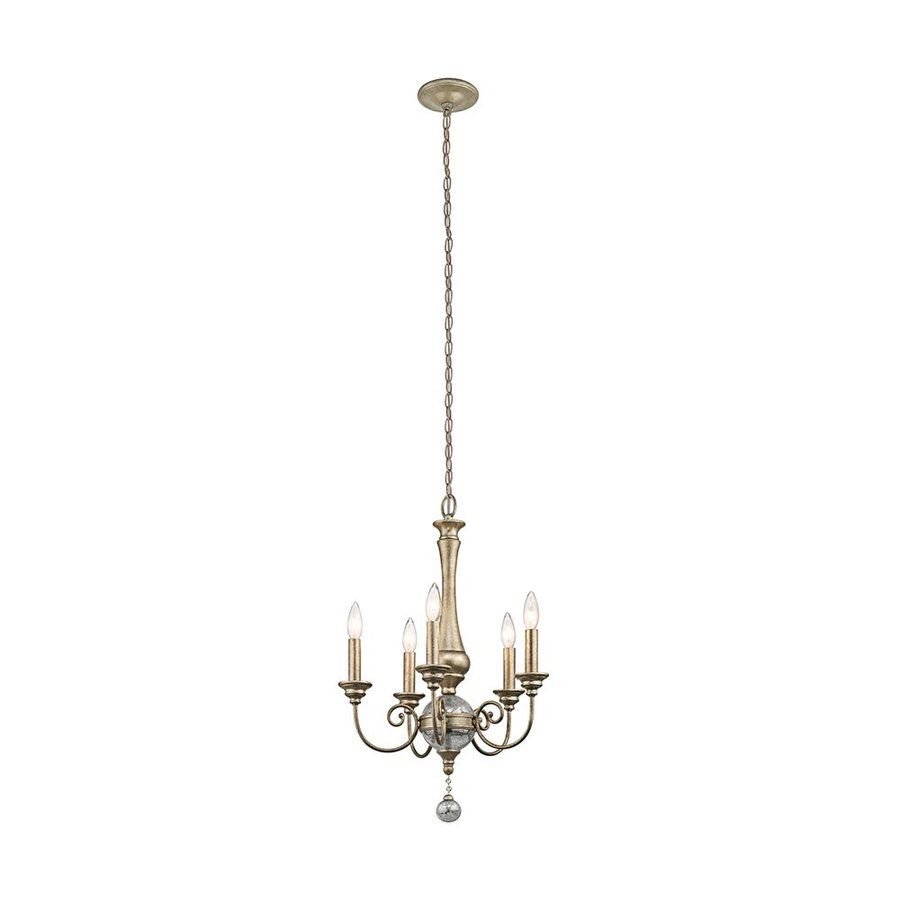 Kichler Rosalie 17.75-in 5-Light Sterling Gold Vintage Candle Chandelier