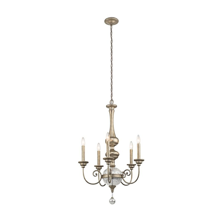 Kichler Lighting Rosalie 24.25-in 5-Light Sterling Gold Vintage Mercury Glass Candle Chandelier