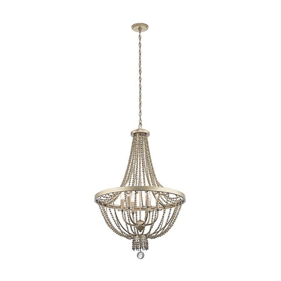 Kichler Lighting Birkdale 24-in 6-Light Sterling Gold Vintage Empire Chandelier