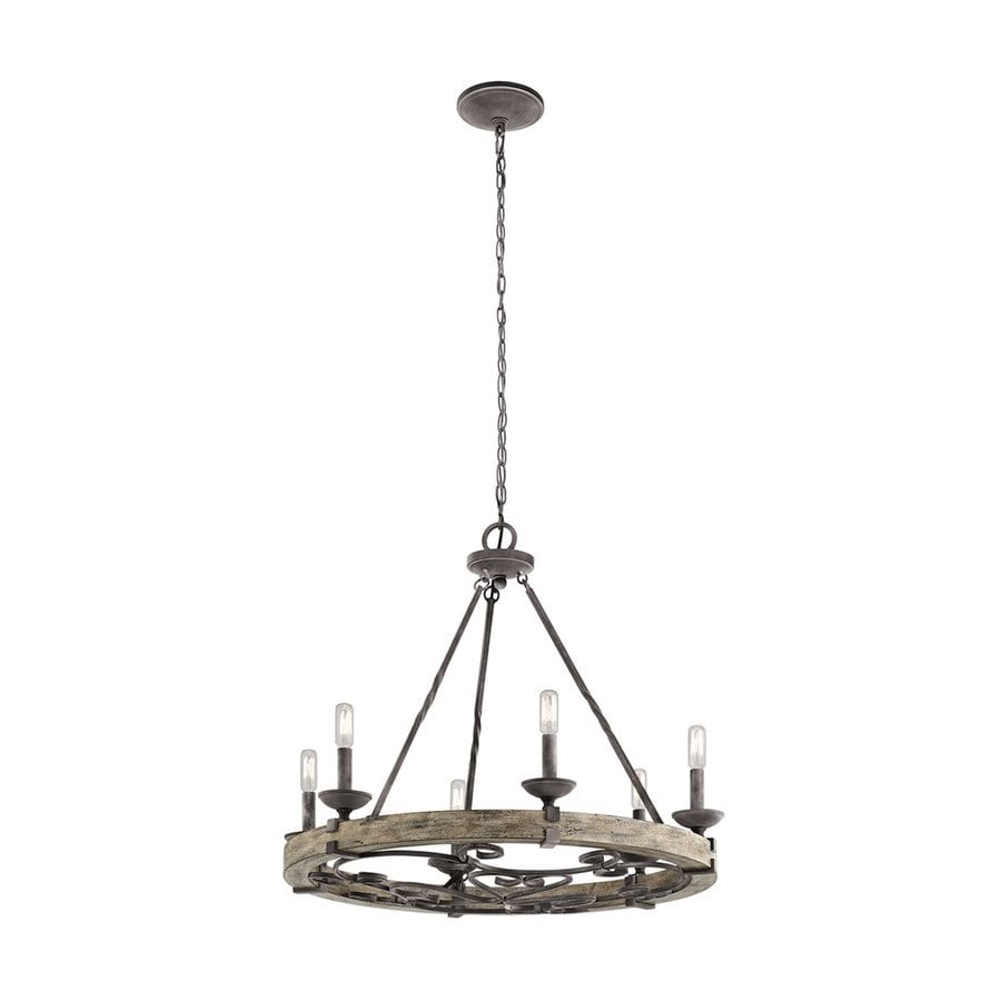 Kichler Taulbee 28.5-in 6-Light Weathered Zinc Rustic Candle Chandelier