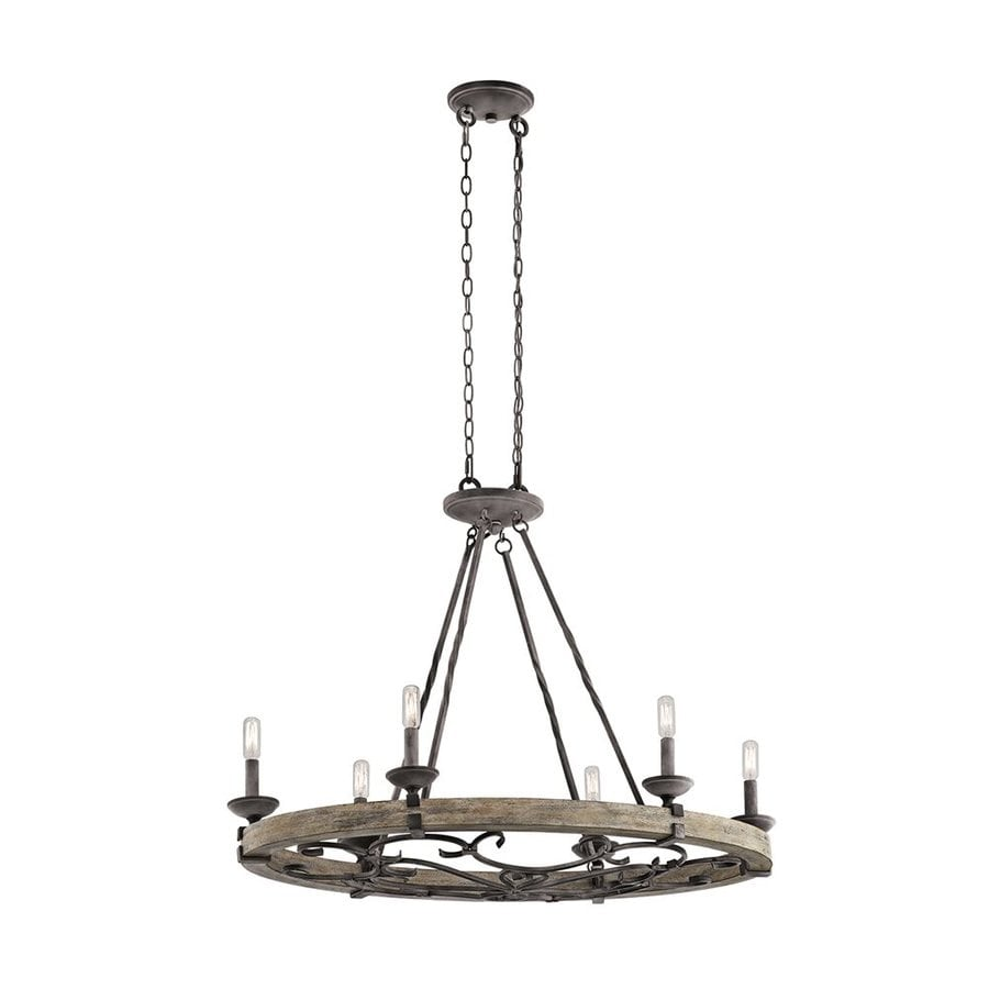 Kichler Taulbee 36-in 6-Light Weathered Zinc Rustic Candle Chandelier