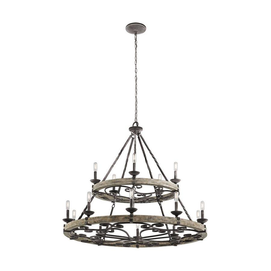 Kichler Lighting Taulbee 44-in 15-Light Weathered Zinc Rustic Candle Chandelier