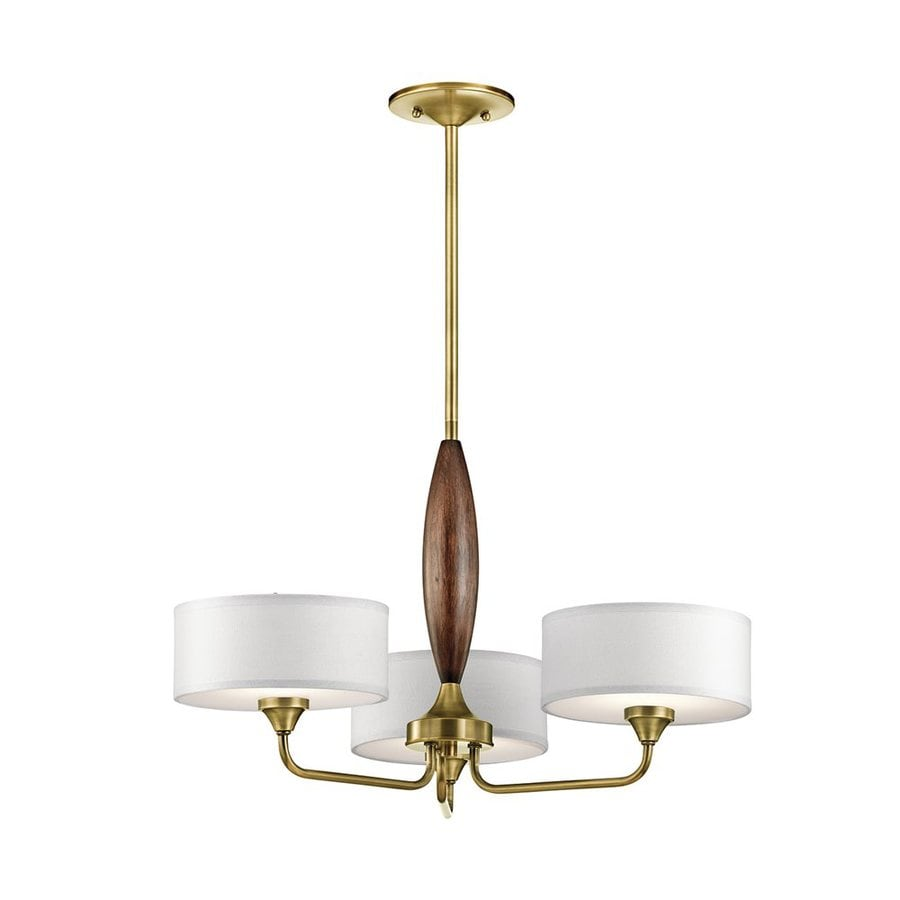 Kichler Lucille 24-in 3-Light Natural Brass Shaded Chandelier