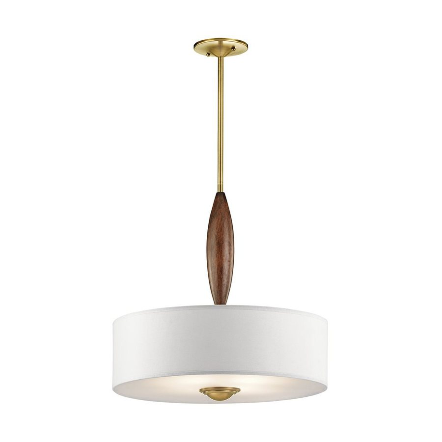 Kichler Lighting Lucille 19-in Natural Brass Hardwired Single Etched Glass Drum Pendant