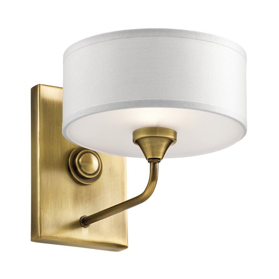 Kichler Lucille 7.75-in W 1-Light Natural Brass Arm Wall Sconce