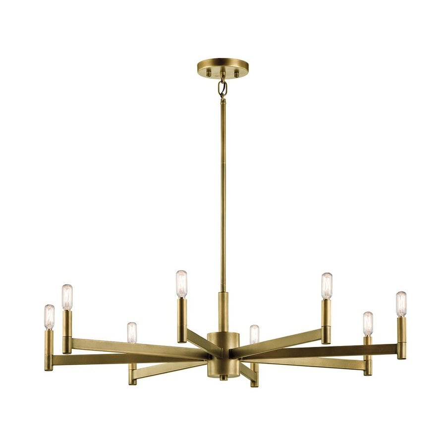 Kichler Erzo 35.5-in 8-Light Natural Brass Industrial Candle Chandelier