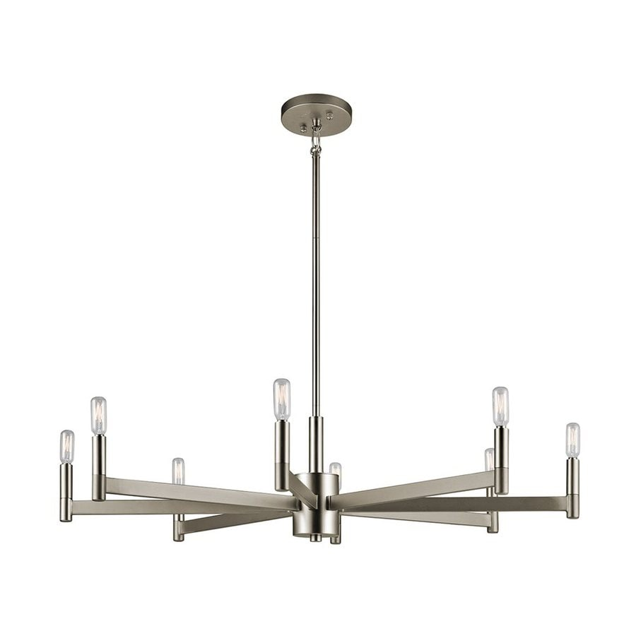 Kichler Erzo 35.5-in 8-Light Satin Nickel Industrial Candle Chandelier