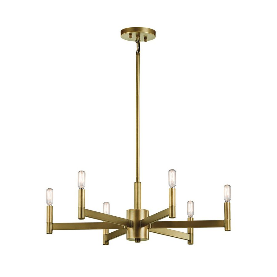 Shop Kichler Erzo 26 In 6 Light Natural Brass Industrial Candle Chandelier At