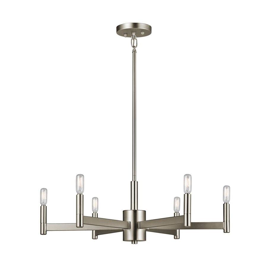Kichler Lighting Erzo 26-in 6-Light Satin Nickel Industrial Candle Chandelier