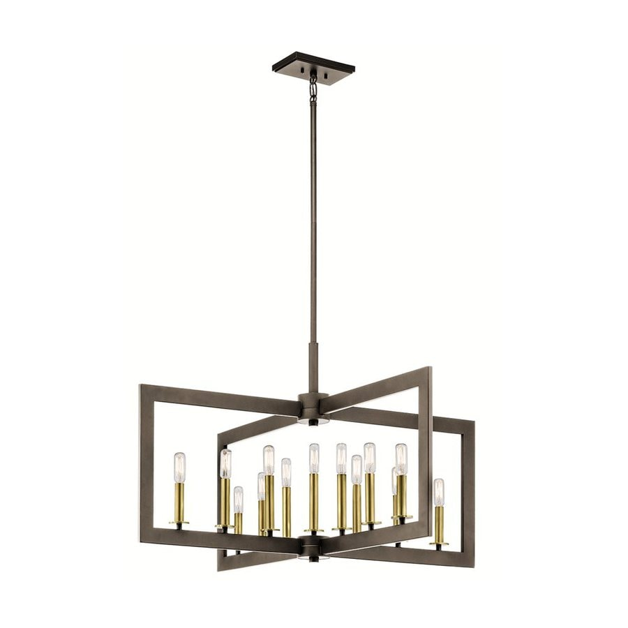 Kichler Cullen 38.75-in 13-Light Olde bronze Industrial Candle Chandelier