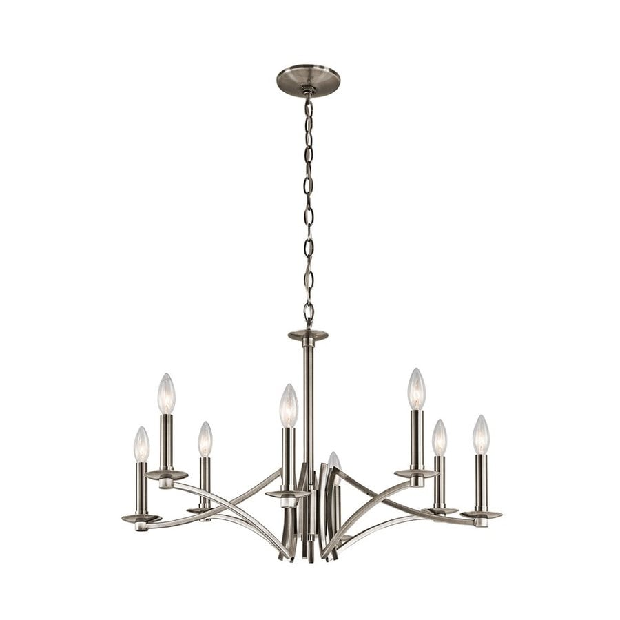 Kichler Grayson 28-in 8-Light Classic pewter Candle Chandelier