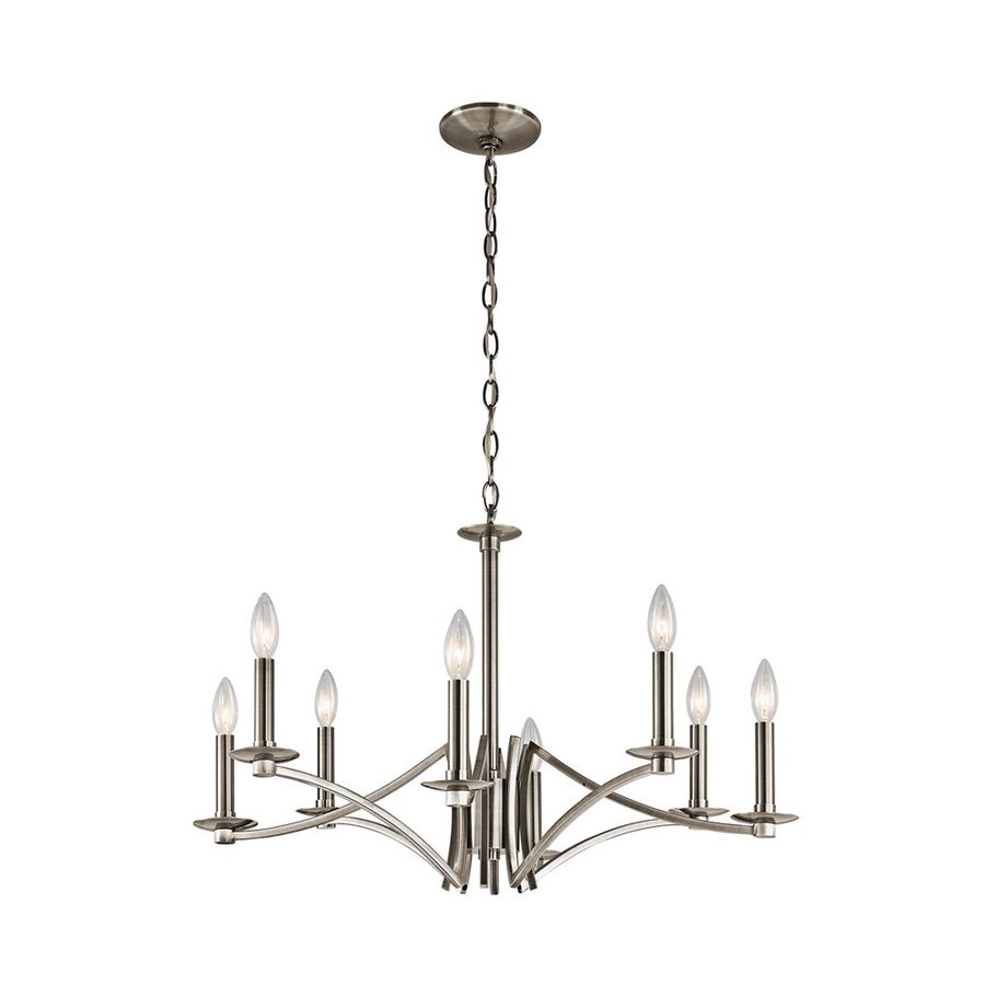 Kichler Grayson 28-in 8-Light Classic Pewter Hardwired Candle Chandelier
