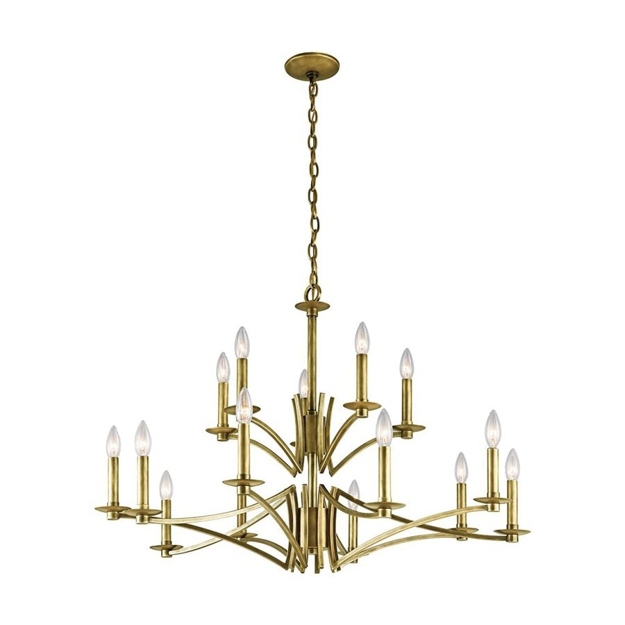 Kichler Grayson 36-in 15-Light Natural Brass Tiered Chandelier