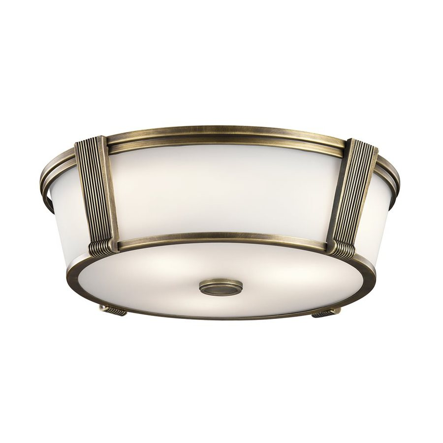 Kichler Grayson 17-in W Natural Brass Flush Mount Light