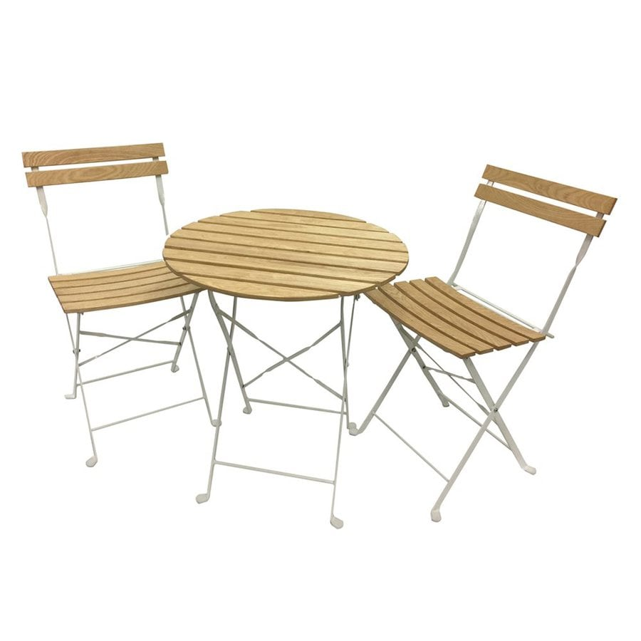 Phat Tommy Aviara 3 Piece White Wood Frame Bistro Patio Dining Set